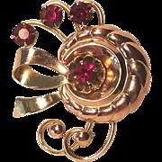 Vintage 1930's Rose Gold Filled Harry Iskin Rhinestone Pin