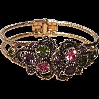 Vintage Sarah Coventry Austrian Lites Clamper Rhinestone Bracelet