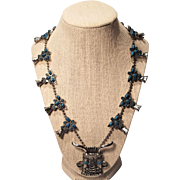 Vintage Native American Faux Turquoise Squash Blossom Necklace