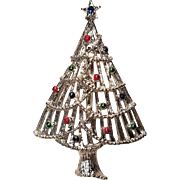 Vintage Gerry's Silver Tone Christmas Tree Pin