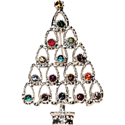 Vintage Silver Tone Rhinestone Christmas Tree Rainbow Colors