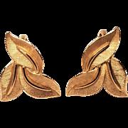 Vintage Crown Trifari Three Leaf Gold Tone Satin Clip Earrings