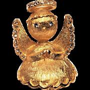 Vintage Christmas Angel Pin with Rhinestones