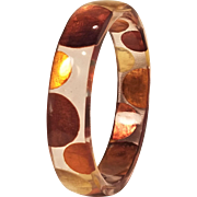 Vintage Fall Bangle Lucite Bracelet With Colored Poke A Dot Mother Of Pearl Inserts