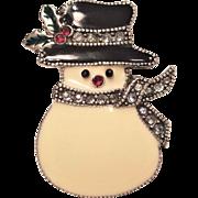 Vintage Enamel Snowman Pin Wearing Hat  Rhinestone Nose Signed TC