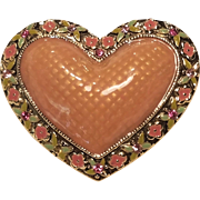 Vintage Enamel Heart Pin With Peachy Pink Center Pink Rhinestones With Enamel Flowers