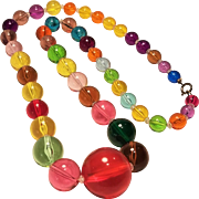 Vintage Lucite Rainbow Bubble 32 Inch Necklace Beautiful Range Of Colors