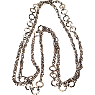 Vintage Monet Open link Rope Chain Necklace With Circles Silver Tone 54 Inches With Hang Tag