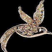 Vintage Sarah Coventry Bird Of Paradise Aurora Borealis Rhinestones Pin