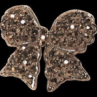 Vintage Weiss Hematite Grey Marcasite Bow Pin