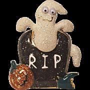 Vintage Halloween RIP Shaking Ghost Pin