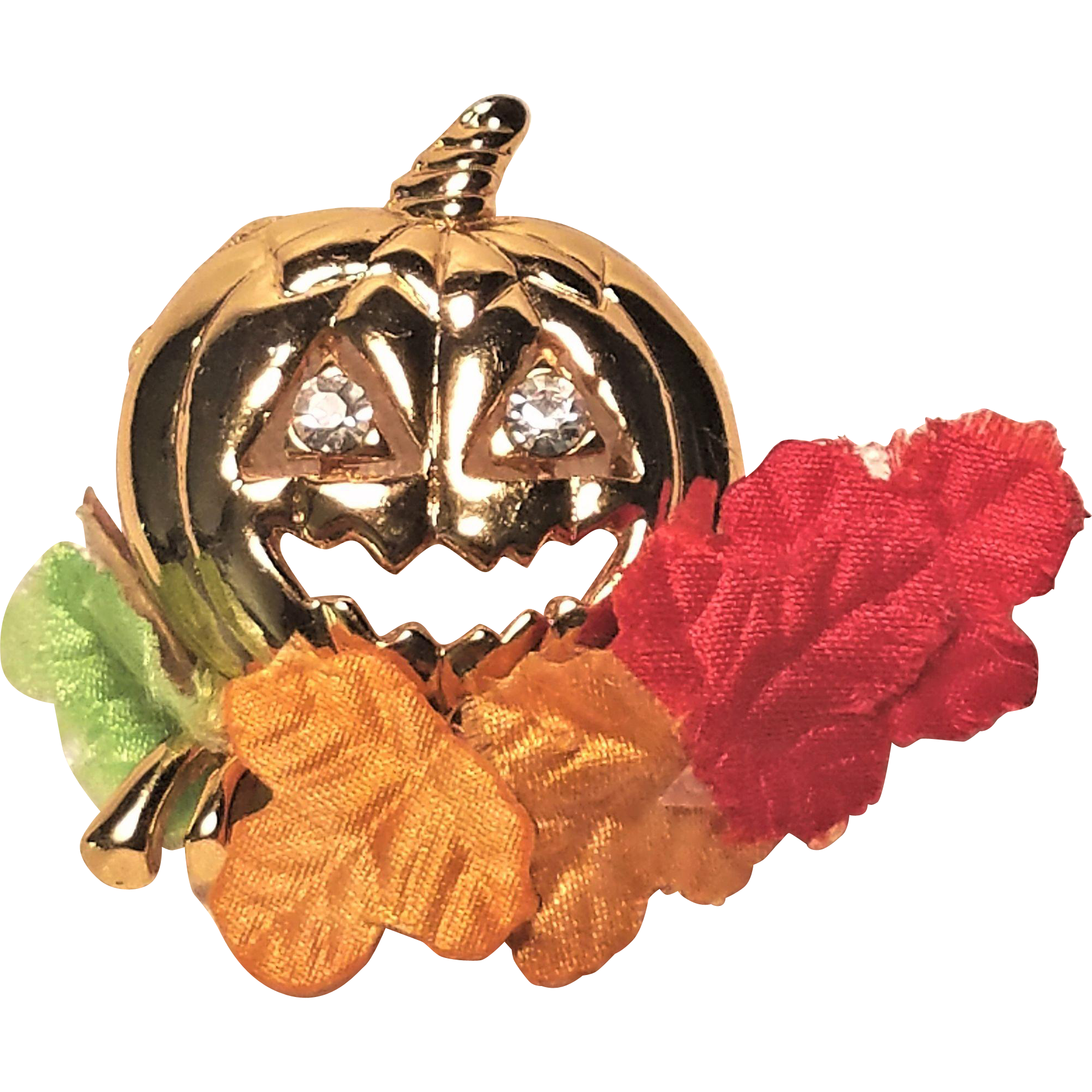 Vintage Avon Pumpkin Pin With Colored Fall Leaves
