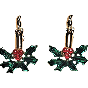 Vintage Christmas Candle Pierced Earrings With Holly Leaves and Berries