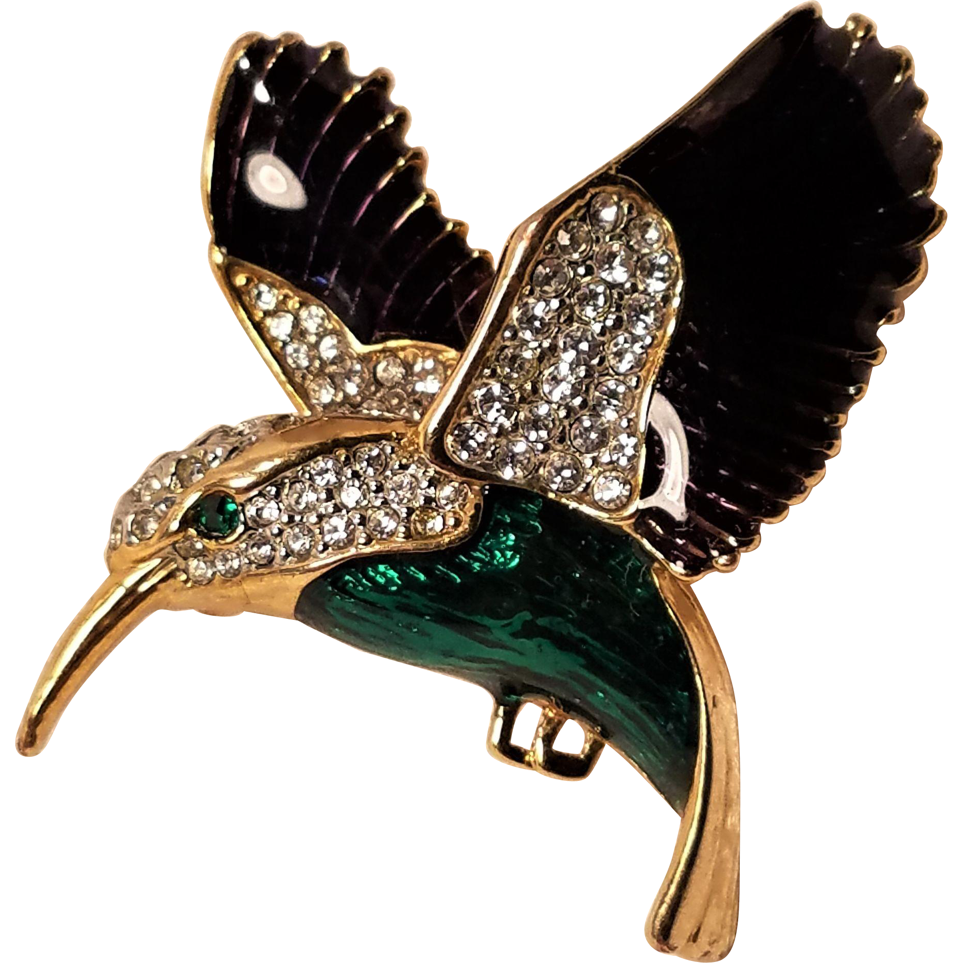 Vintage Humming Bird Pin Enameled Wings and Chest with Pave Rhinestones