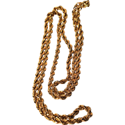 Vintage Monet Gold Tone Rope Chain 36 Inches with Hang Tag