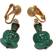 Vintage Clip Earrings Brass Setting With Sitting Green Glass Pharaohs With Headdress