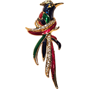 Vintage Exotic Enameled Bird Pin With Rhinestones by Lind