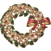 Vintage Christmas Wreath Pin With Rhinestone Flowers Enamel Bow