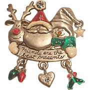 Vintage Christmas Dangle Pin Reindeer Santa and Snowman Friends Are The Best Presents