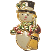 Vintage Christmas Snowman Pin Made in Hong Kong Plastic