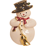 Vintage Christmas Snowman Pin With Broom Scarf And Top Hat