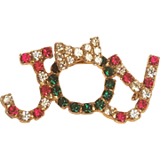 Vintage Christmas JOY Rhinestone Pin with Bow