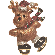 Vintage Danecraft Christmas Skating Reindeer Pin