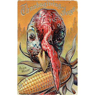 Vintage Postcard Thanksgiving Joys Turkey and Corn 1909