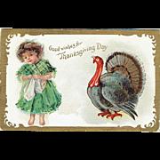 Vintage Postcard Good Wishes for Thanksgiving Day unsigned Frances Brundage 1909