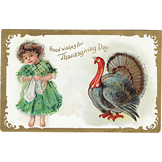 Vintage Postcard Good Wishes for Thanksgiving Day unsigned Frances Brundage 1909