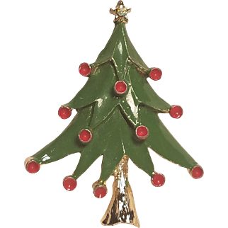 Vintage Christmas Tree Pin Green and Red Enamel