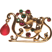 Vintage Christmas Santa's Sleigh With Bow And Colored Rhinestones Faceted Dangle