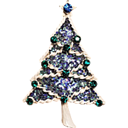 Vintage Winter White Enamel Glittered Large Christmas Tree Pin