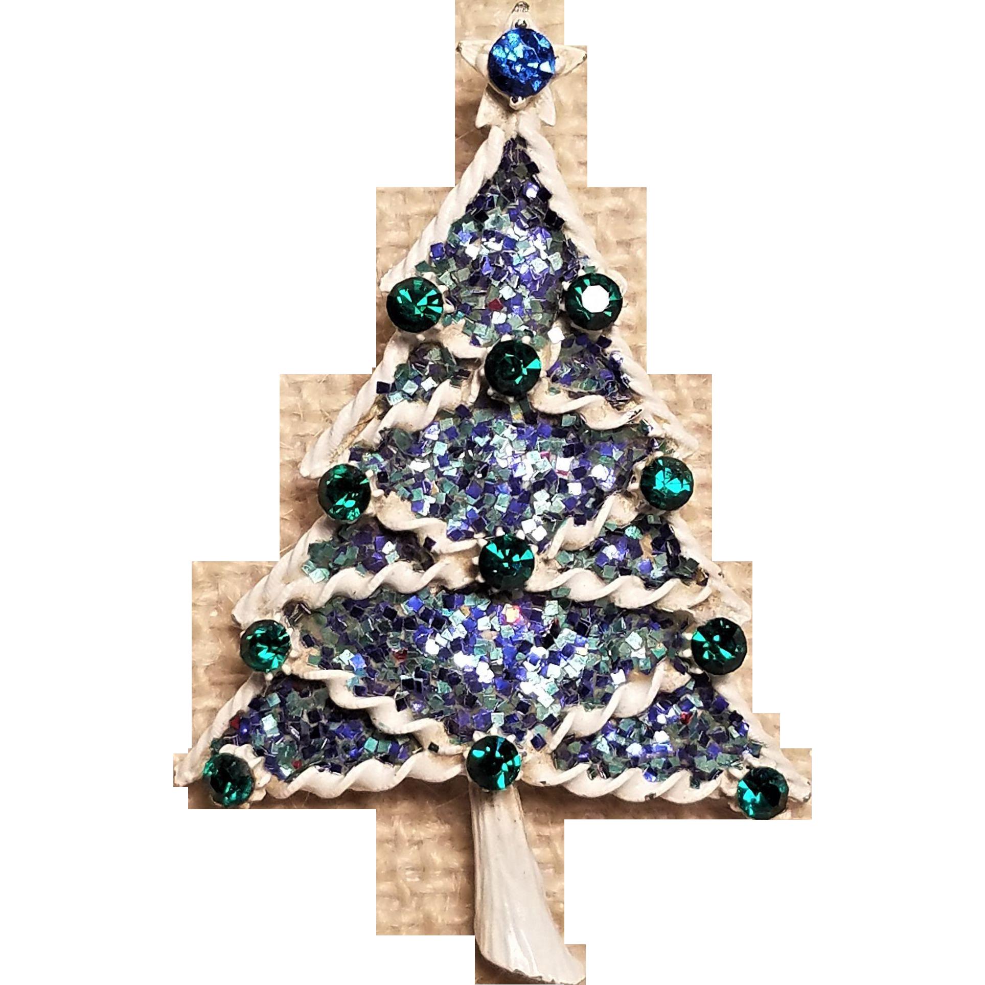 Vintage Winter White Enamel Glittered Large Christmas Tree Pin