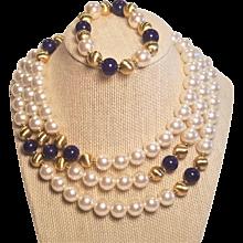 Vintage Napier Beautiful Faux Big Pearls And Faux Lapis Necklace And Bracelet Set