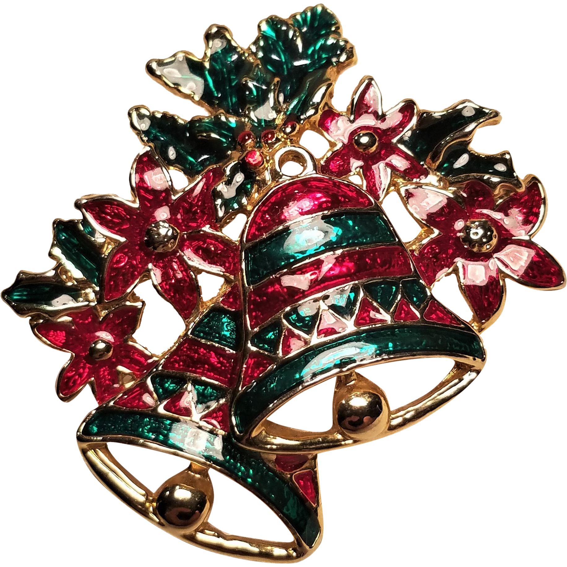 Vintage Christmas Pin Ringing Bell's With Holly And Poinsettias