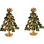 Vintage Christmas Tree With Rhinestones Clip Earrings