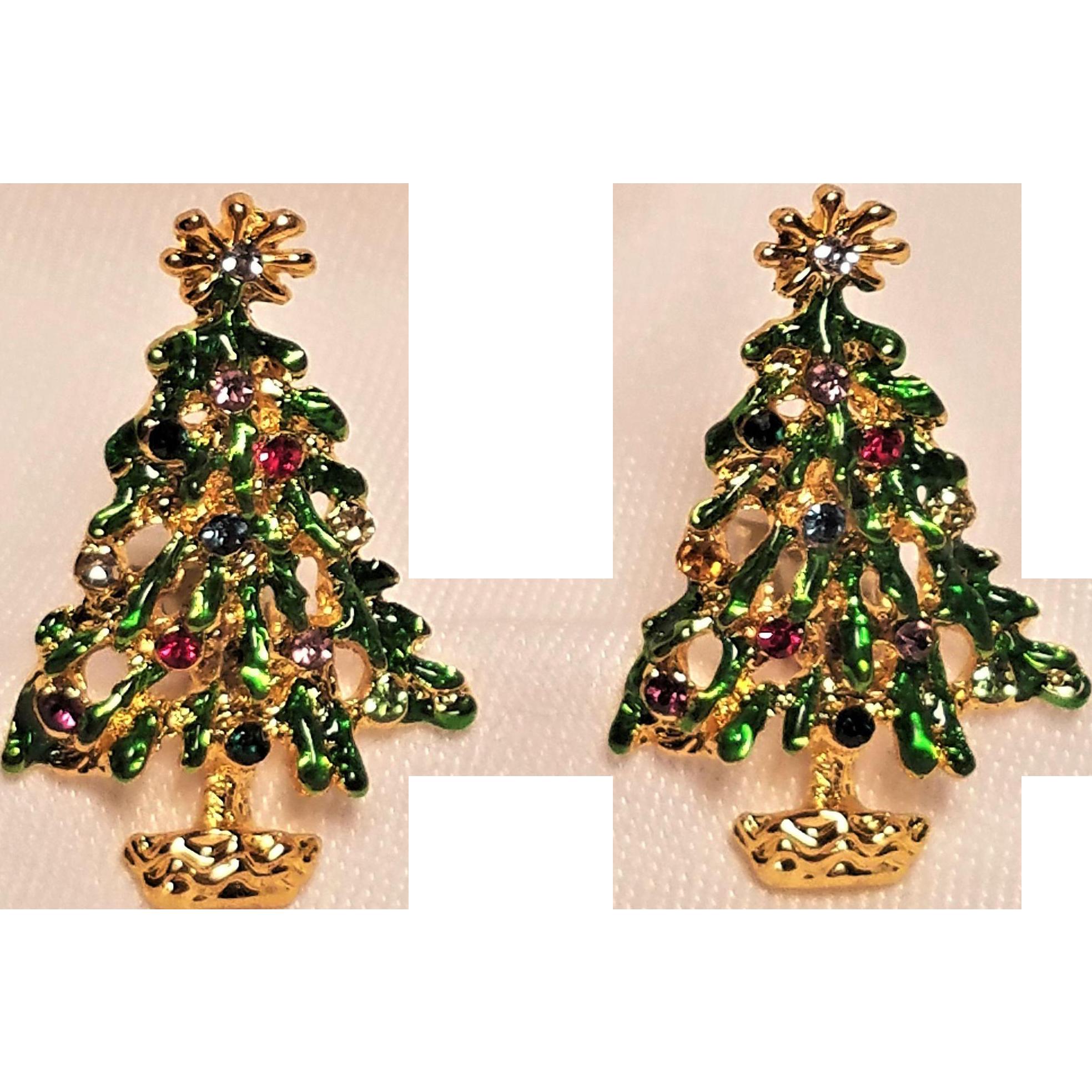 Vintage Christmas Tree With Rhinestones Clip Earrings