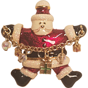 Vintage Santa Pin Holding Chain With Gifts and Glass Dangles