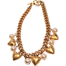 Vintage Anne Klein Be My Valentine Faux Big Pearl And Heart Necklace