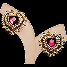 Vintage Valentine Clip Embossed Rhinestone Heart Shaped Earrings