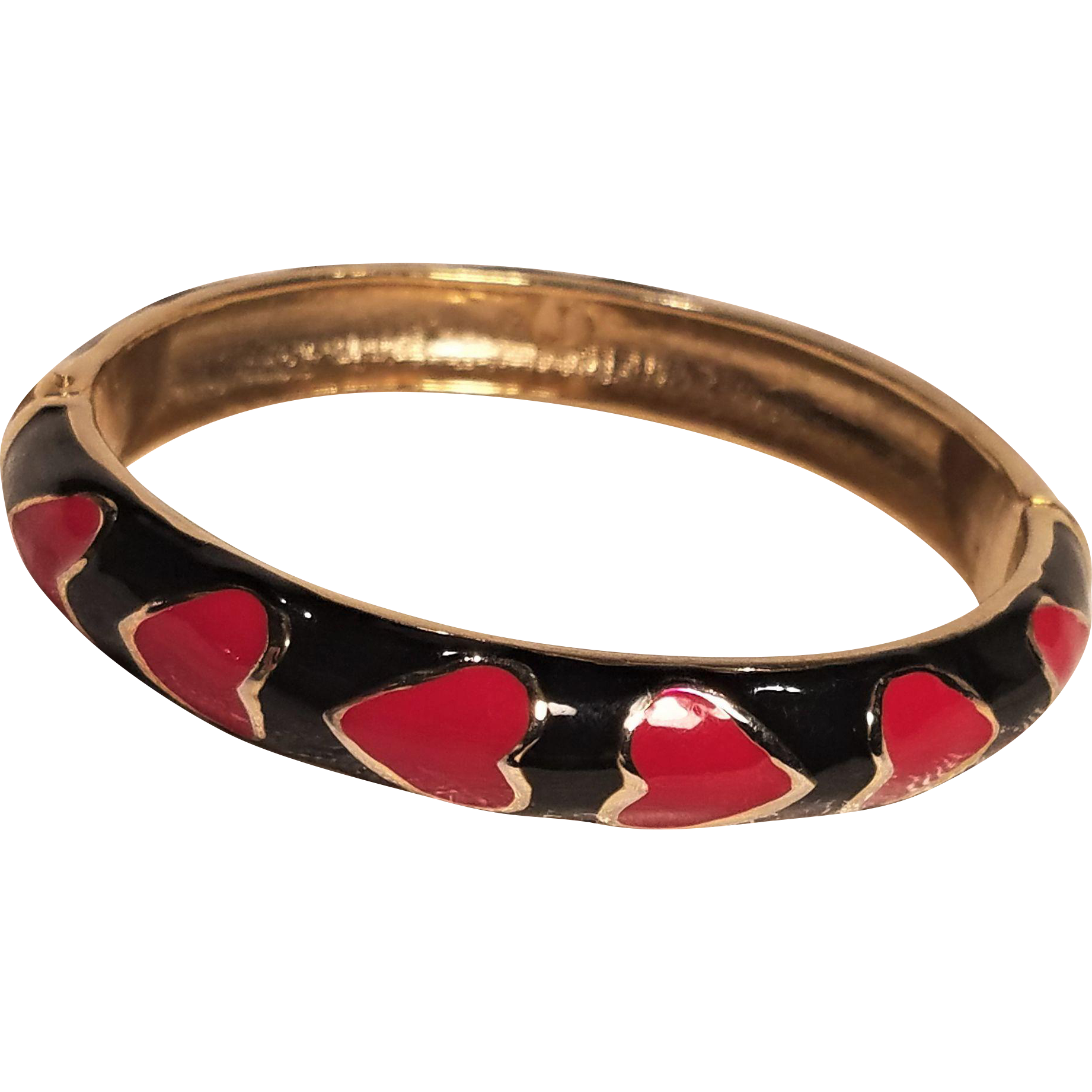 Vintage Red Hearts On Black Enamel Hinged Bracelet
