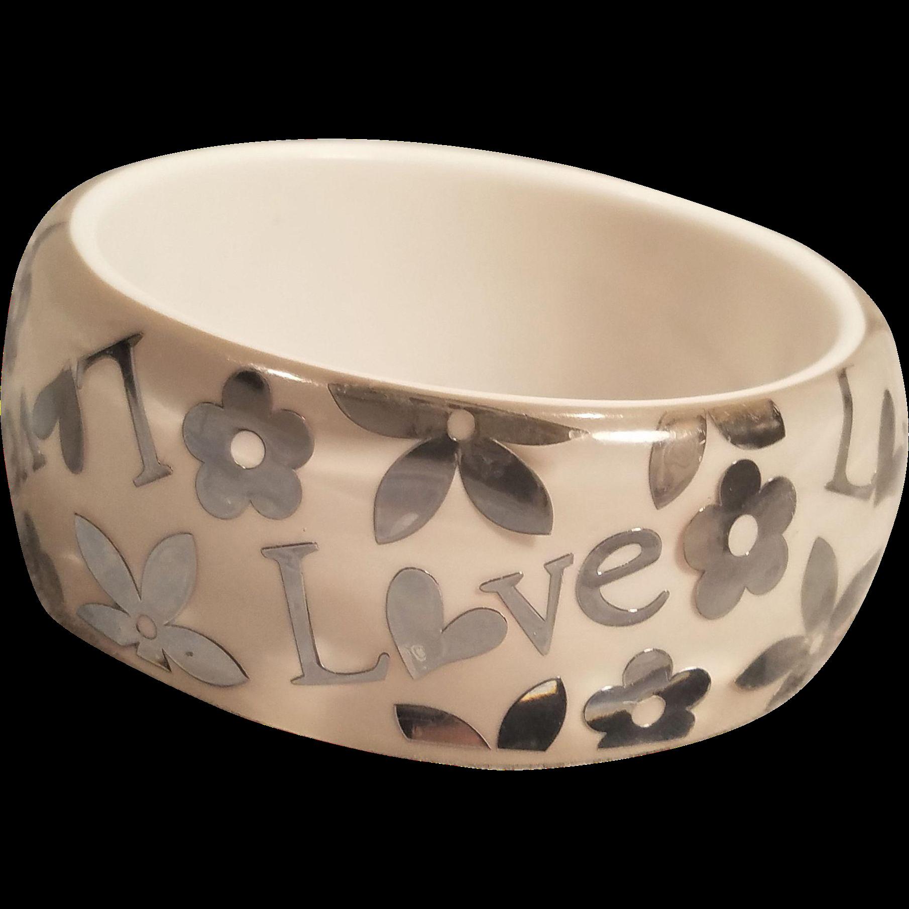 Vintage Lucite Love And Flowers Bangle Bracelet