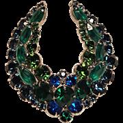 Vintage Juliana Delizza & Ester Green And Blue Crescent Wreath Pin