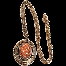 Vintage Gold Tone Locket With Beautiful Orange Glass Cabochon Stone