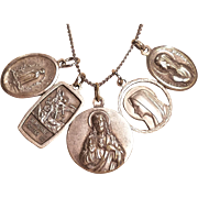 Vintage Religious Travelers Catholic Charms Necklace 24 Inches