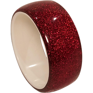 Vintage Lucite Ruby Red Heavy Glitter Bangle Bracelet