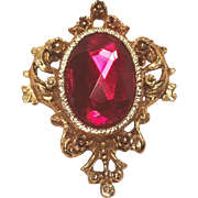 Vintage Ruby Red Faceted Rhinestone Embossed Brass Embellished Pin