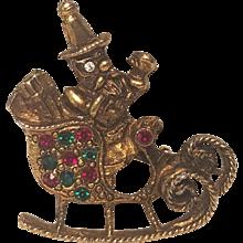 Vintage Antiqued Brass Santa In Sleigh Christmas Pin