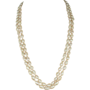 Double Strand of  Cultured  Baroque Pearls & Matching Earrings, 14k Gold Clasp.